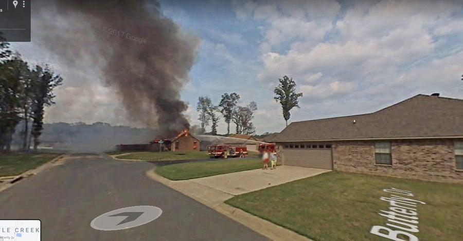 Arkansas Fire google street view