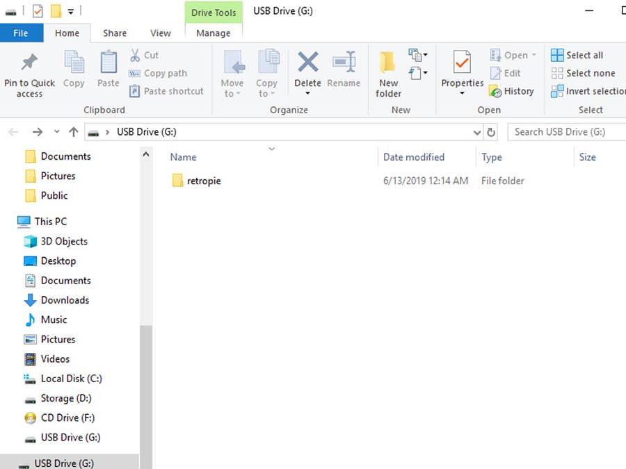 RetroPie USB folder