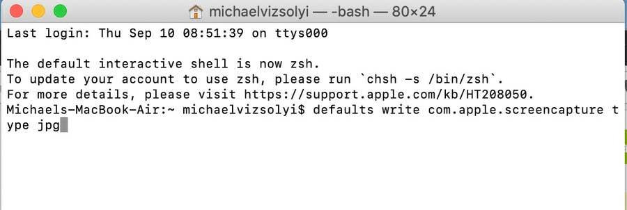 Terminal Screencapture change