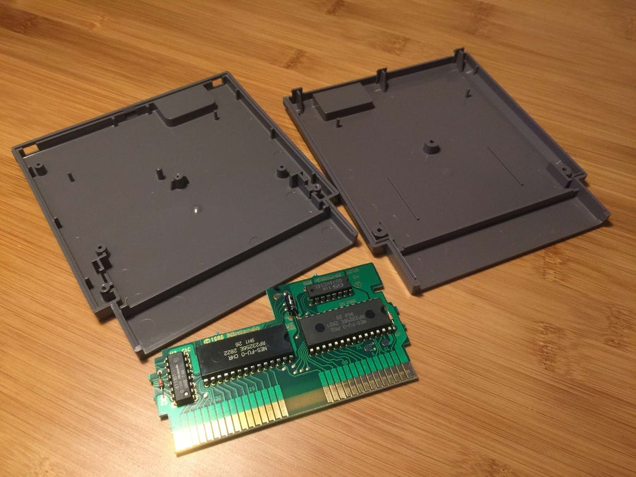 A disassembled NES cartridge