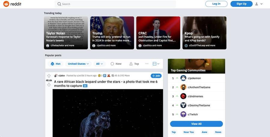 Reddit homepage 2021