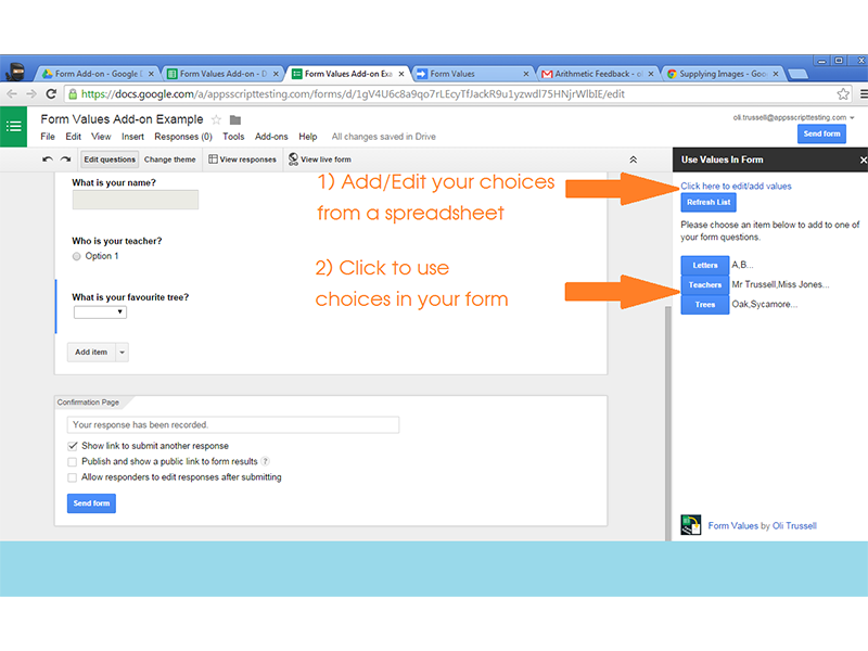 google forms addon form values