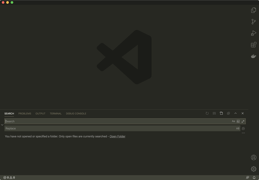 VSCode Search in bottom panel