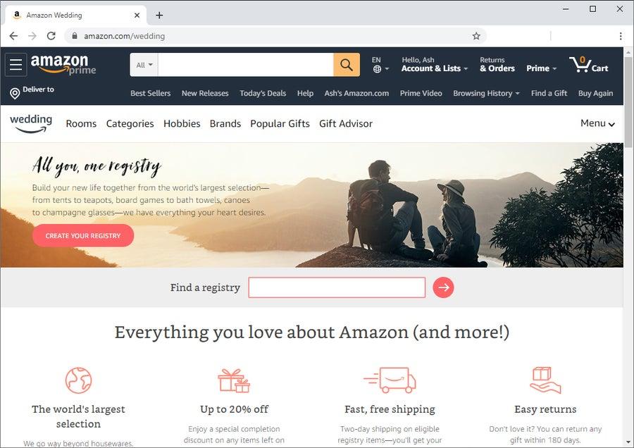Create Amazon Wedding Registry