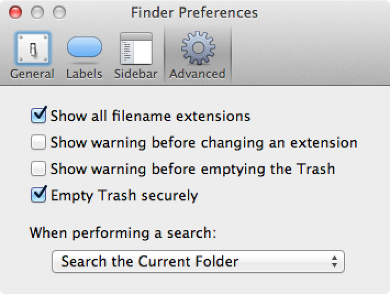 Select the Empty Trash Securely option