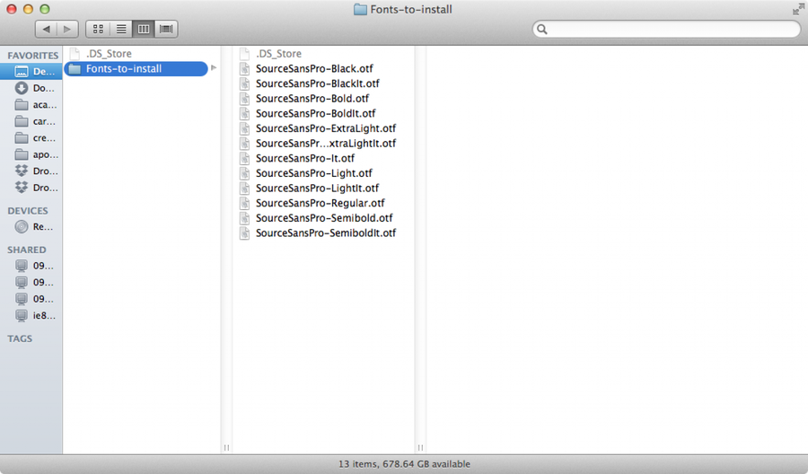 Locate your fonts in Finder