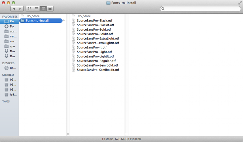 install fonts mac os x 10.8