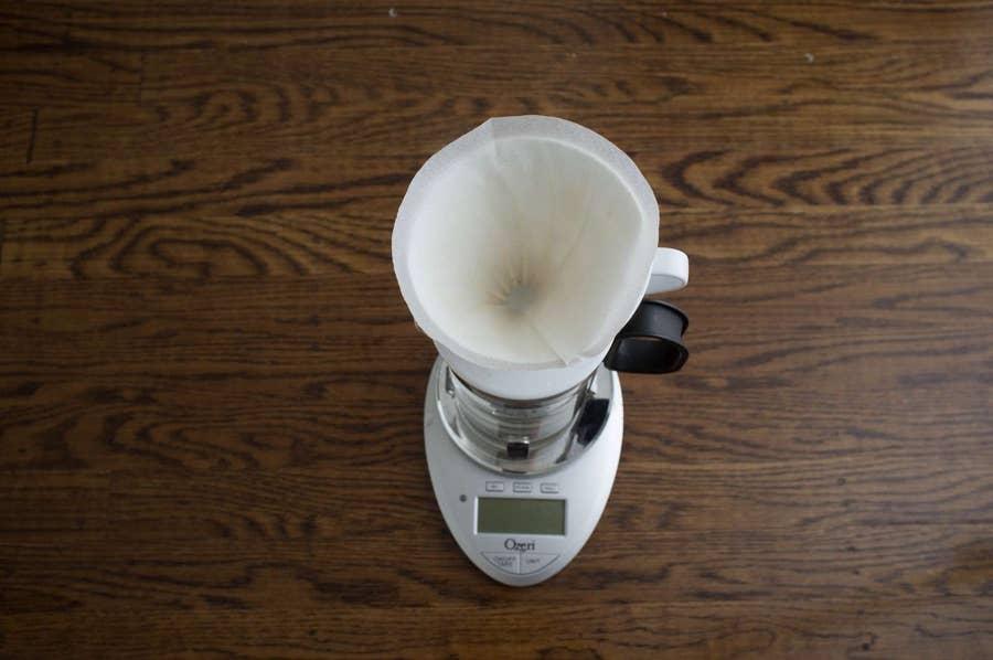 Pourover coffee setup on a scale