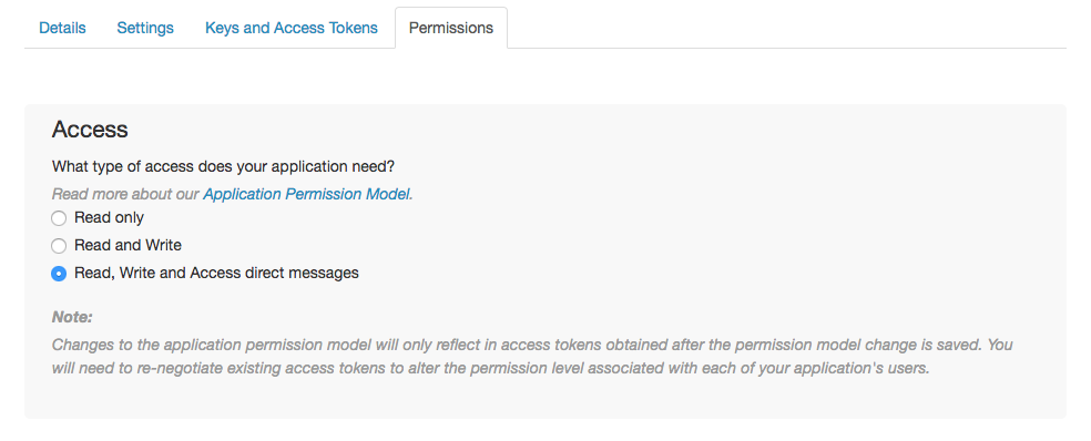 Set the app permissions