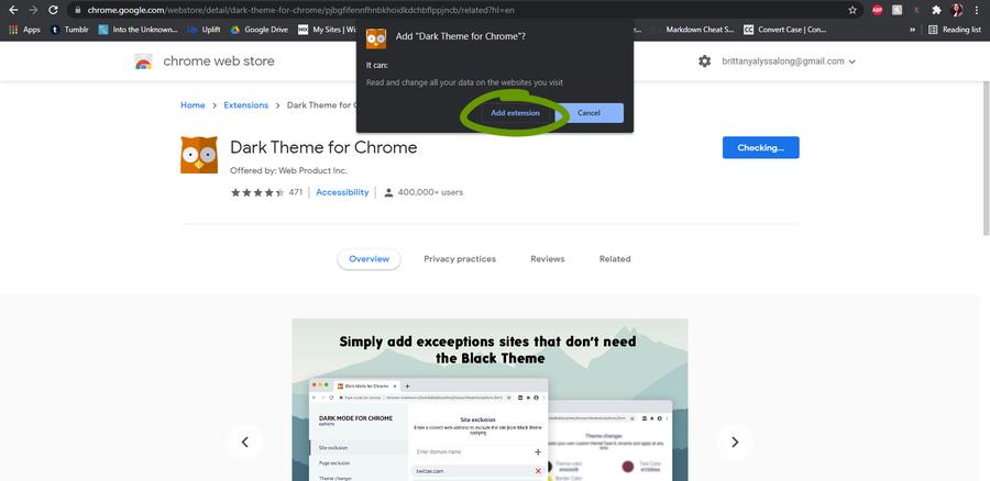 dark mode google chrome extension