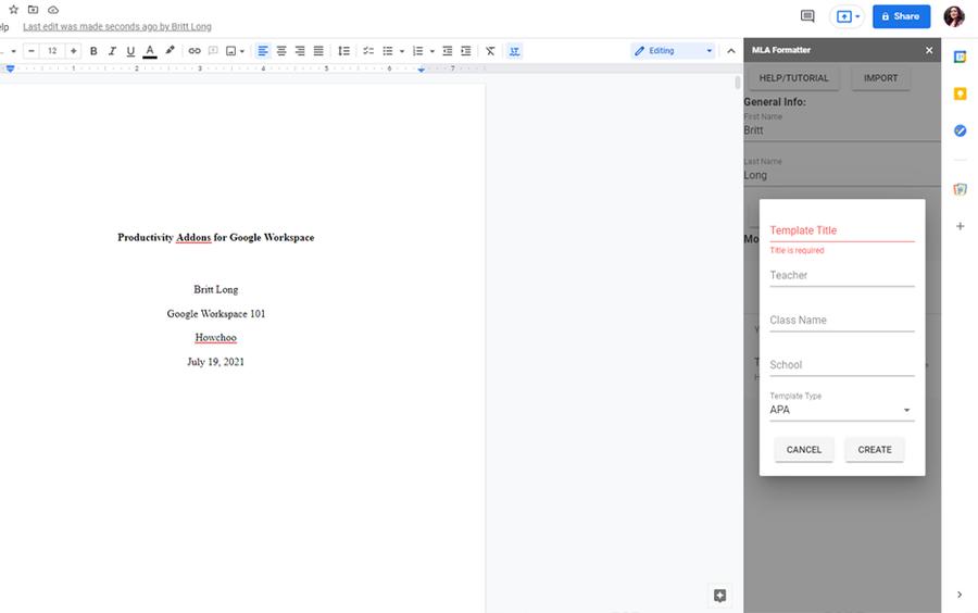 mla apa formatter google workspace addon