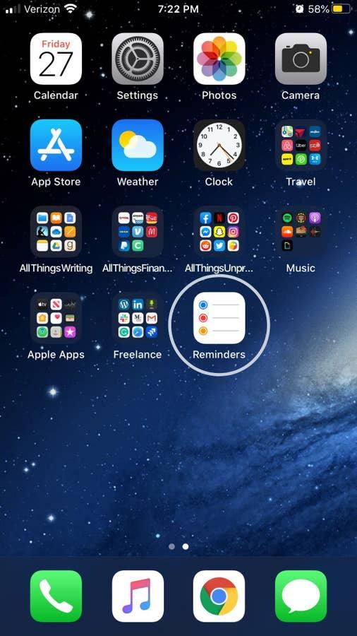 iPhone app home screen
