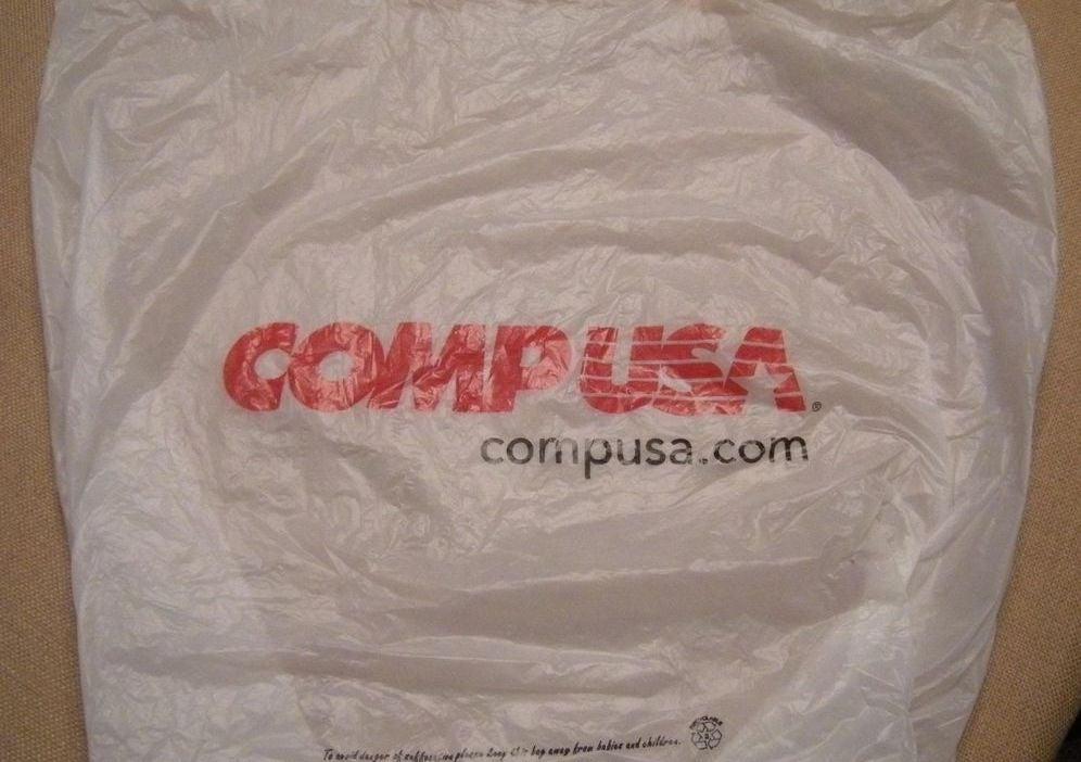 CompUSA grocery bag