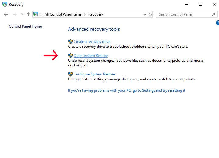 Open System Restore Windows 10