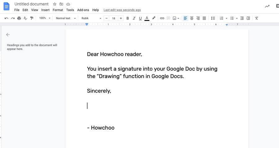 Cursor for signature Google Docs
