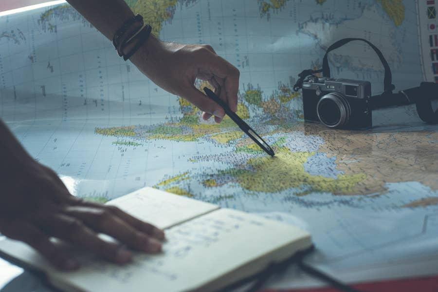 Researching Countries on Map of World