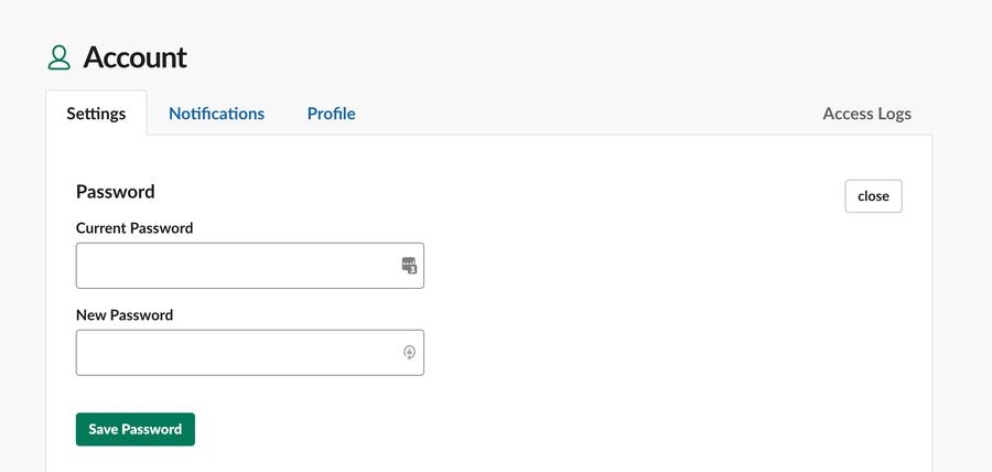 Slack account settings screenshot