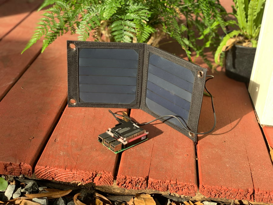 A Raspberry Pi connected to a solar panel