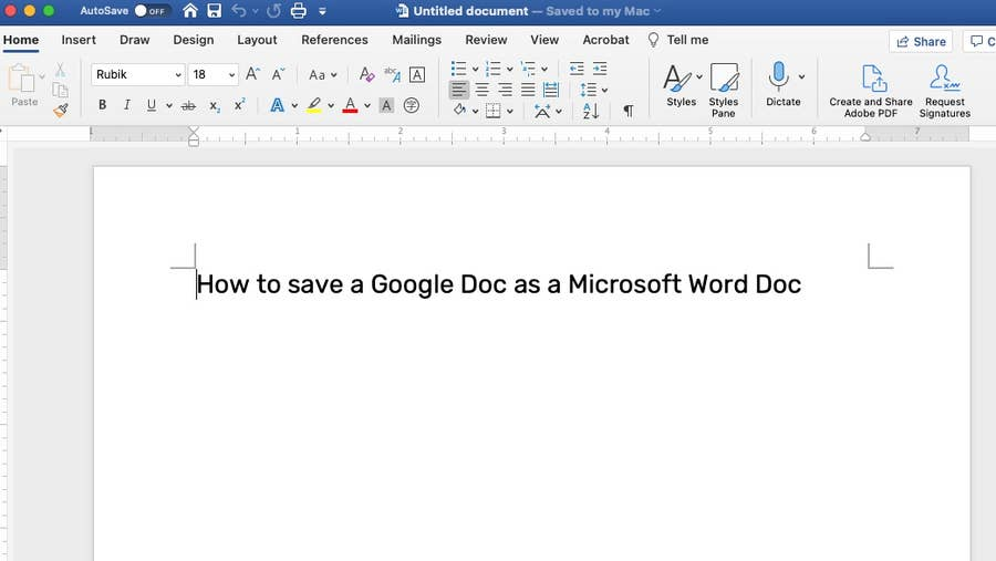 Google Doc opened in Word
