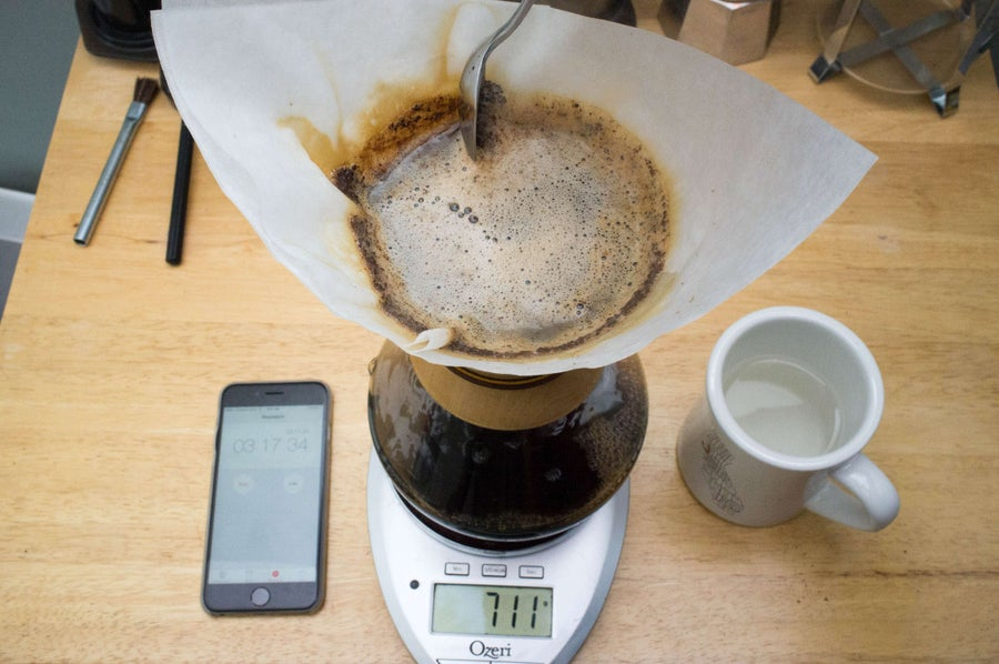 scraping the filter while making chemex coffee