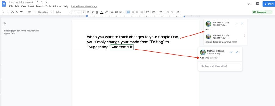 suggestions in Google Docs