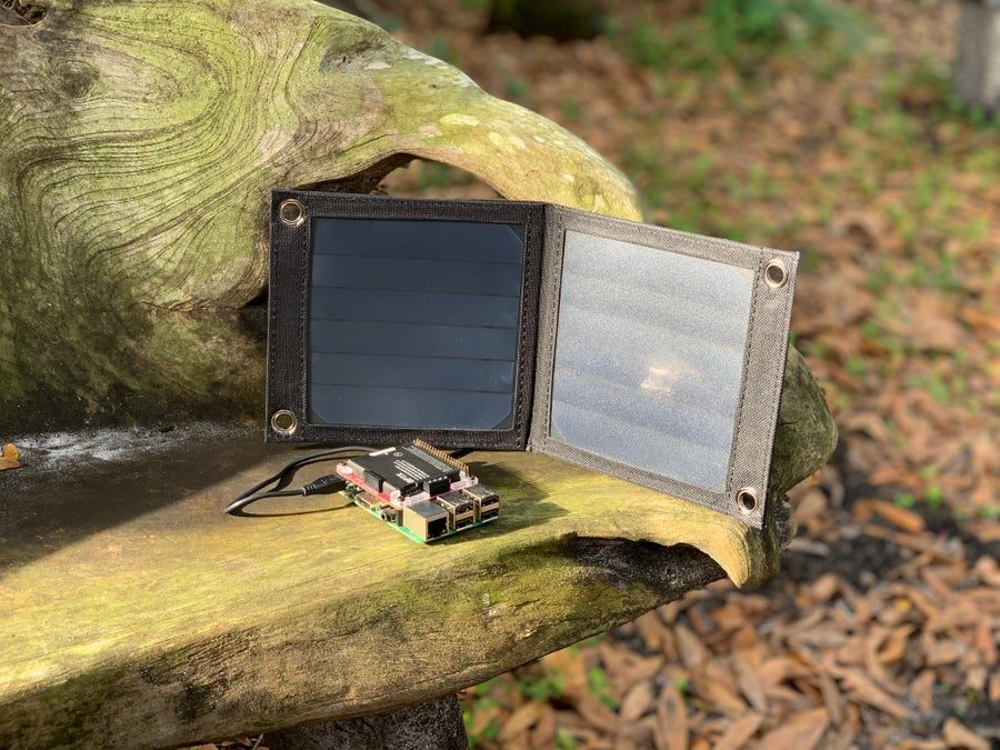 A Raspberry Pi being powered by solar power