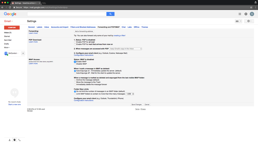 Enable IMAP for Gmail