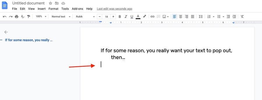 Cursor on new line Google Docs