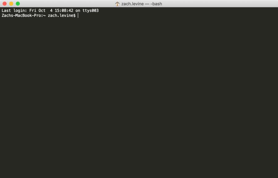 An empty Terminal window in MacOS.