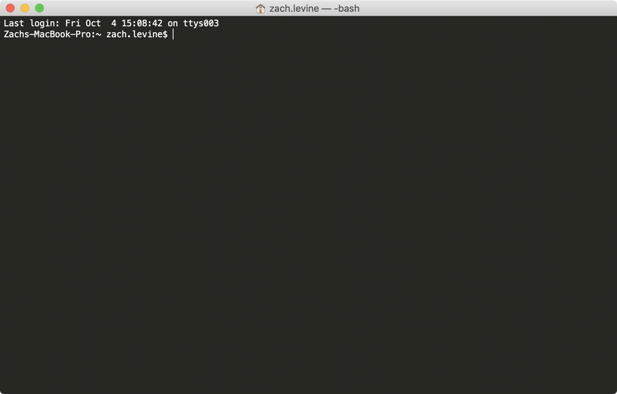 An empty Terminal window in MacOS.