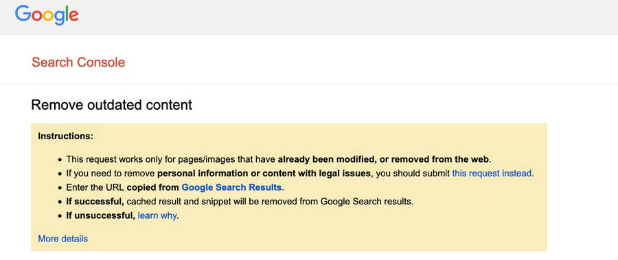 Remove outdated content tool Google