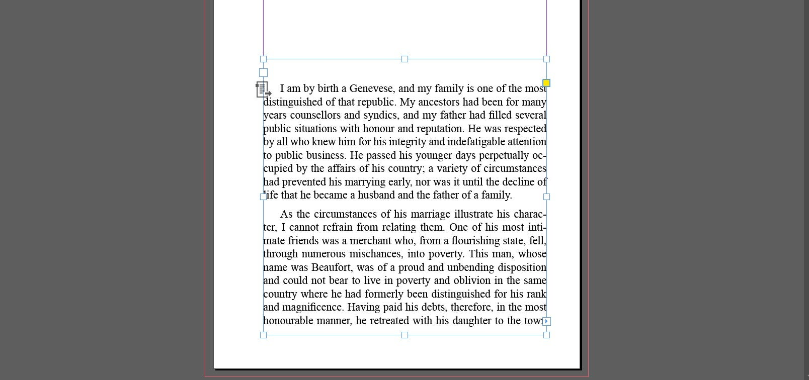 Text Middle of Page InDesign