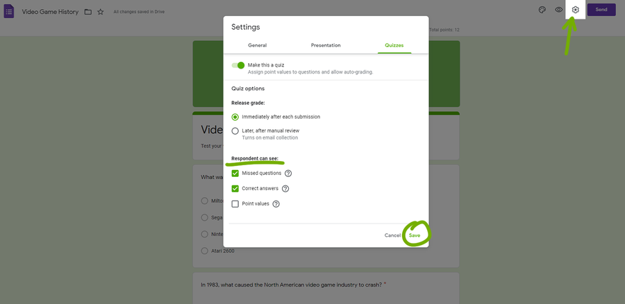 google forms create a quiz settings