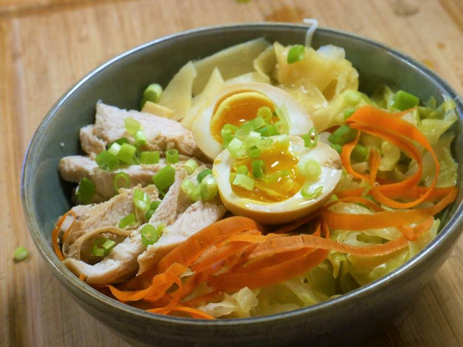 Egg in ramen bowl
