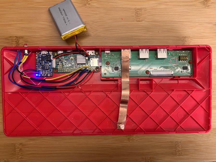 My modded Raspberry Pi keyboard's internal components