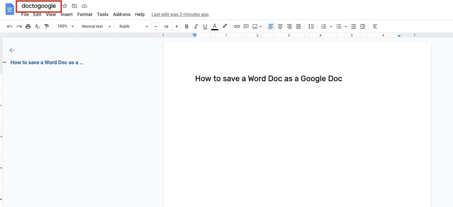 change file name google docs