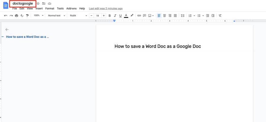 change file name google docs