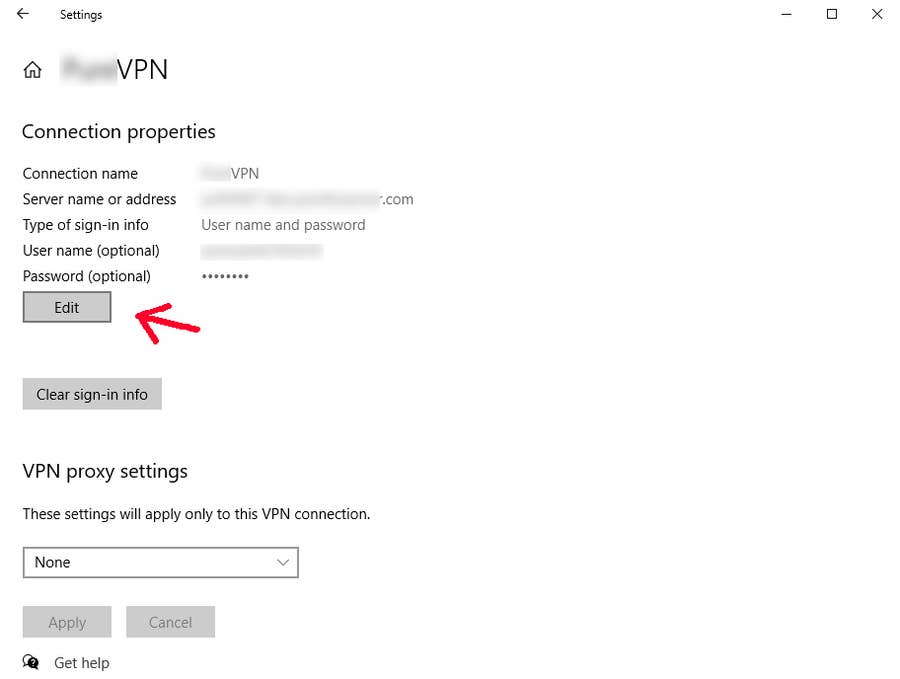Edit VPN Windows 10