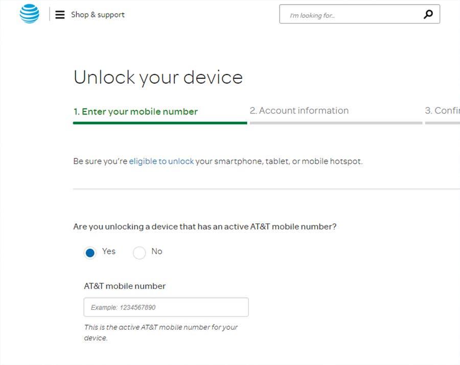 ATT unlock phone request