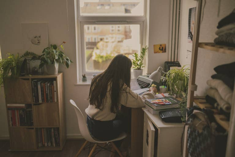 Woman Remotely Working