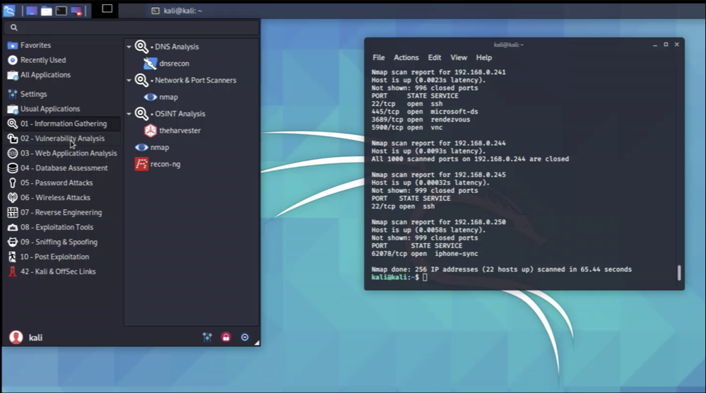 Kali Linux with nmap running in a terminal window