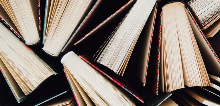 Hardcover books open