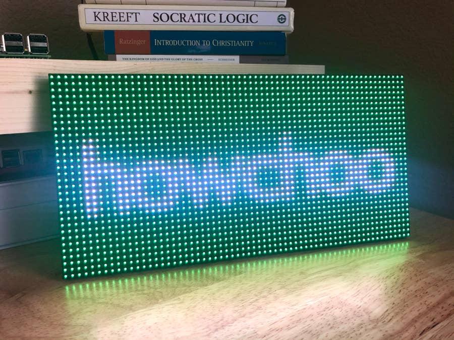 howchoo logo on the led matrix panel