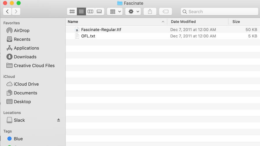File Folder Containing Fasincate Font