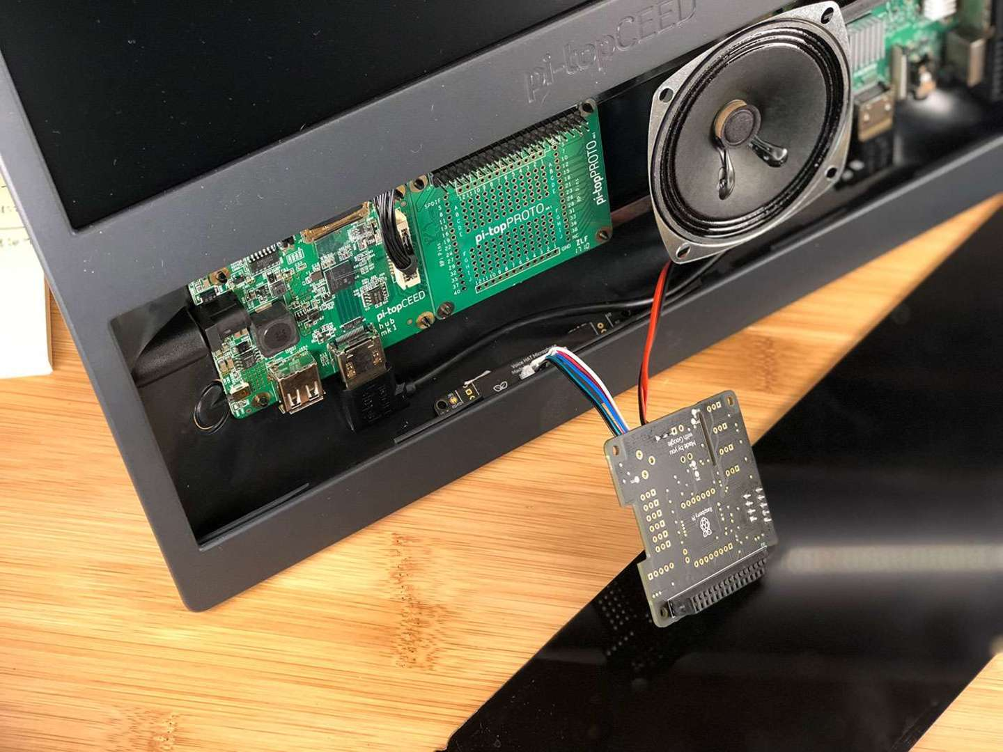 Connecting the Google Voice Kit microphone