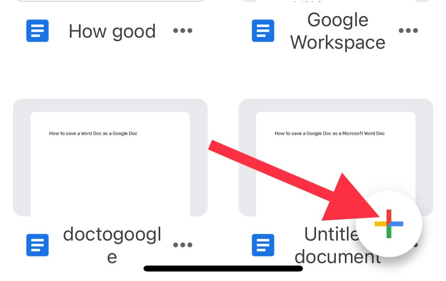 New Google Doc iPhone