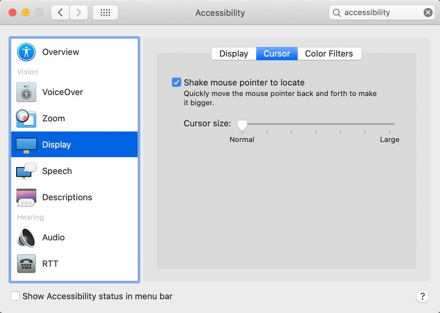 macOS cursor settings