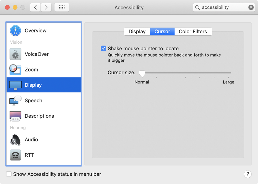 macOS cursor settings