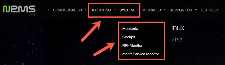 The NEMS portal menu with the monitoring and services menu prominent