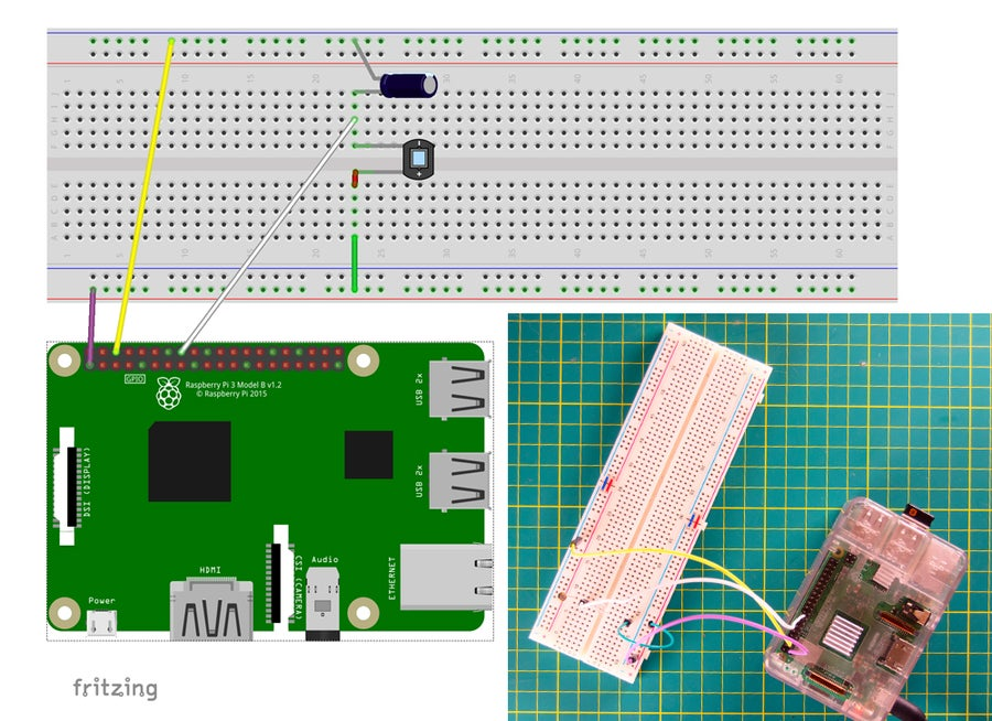 Raspberry Pi light sensor circuit